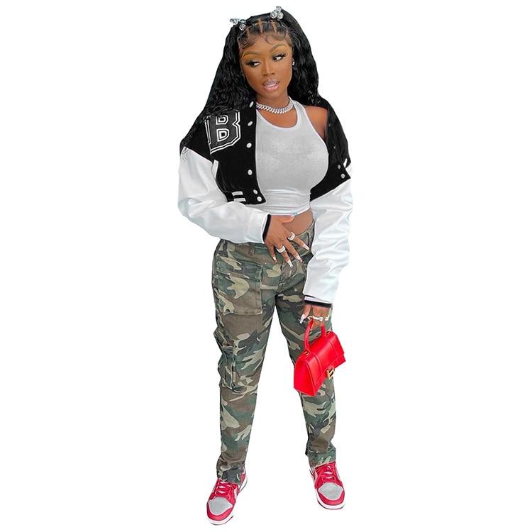 H67fda2c8ff21482f9106990a0c397efca Baseball Jackets for Women 2021 Autumn Letter Print Color Patchwork Cropped Long Sleeve Loose Short Bomber Jacket