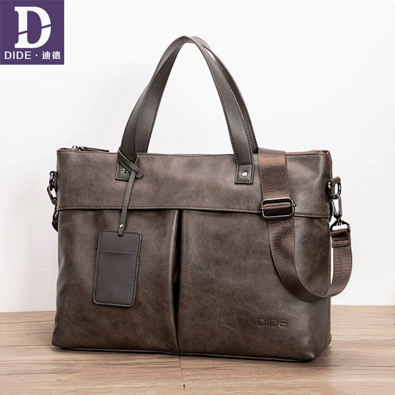 DIDE Leather 15 Inch Top-Handle Handbag Business Briefcase Men's Crossbody Shoulder Bag Male Messenger Bags Laptop Pack