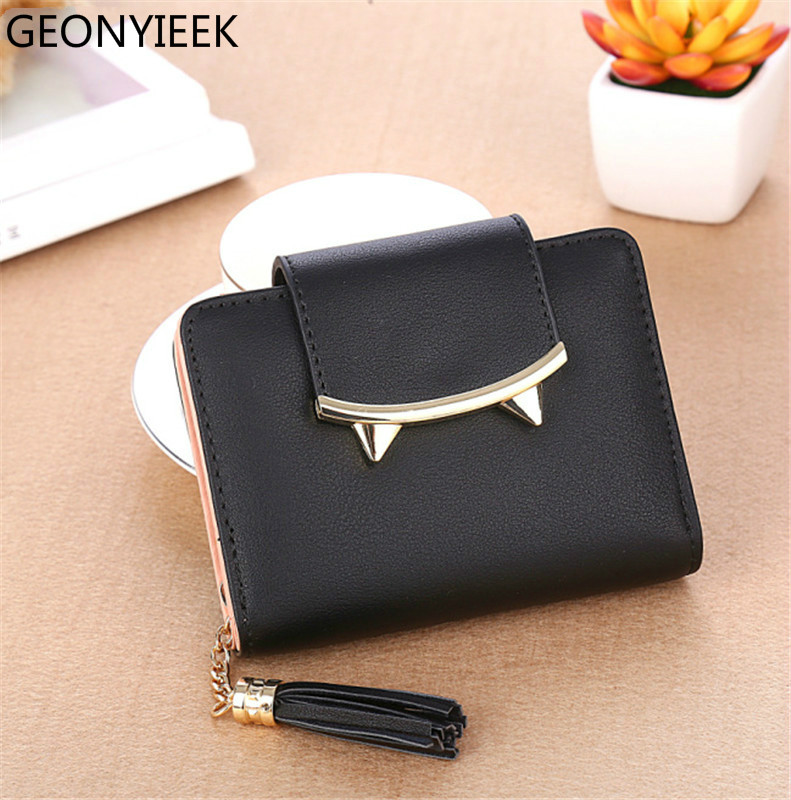 2019 Cute Cat Ears Leather Vintage Tassel Women Wallet Luxury Brand Famous Short Mini Womens Wallets And Purses For Credit Cards