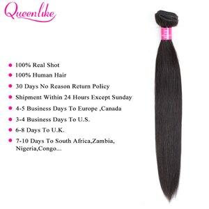 Image 3 - Queenlike Braziliaanse Haar Weefsel Bundels Met 2x6 Diepe Kim K Sluiting Niet Remy Human Hair Inslag 3 Straight haar Bundels Met Sluiting