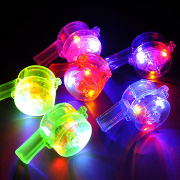 75pcs/lot Colorful flash luminous LED Glow whistle noise maker Outdoor Birthday Gift Random colors