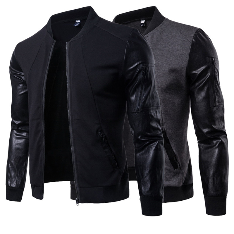 2018 British Style Men's PU Leather Stand Collar Jacket Men Casual Cotton Long-sleeve Stitching Jackets Coats For Autumn Winter