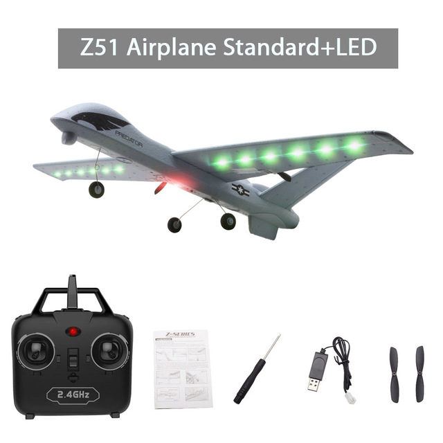 Model Gliders RC Plane 2.4G 2CH Predator Z51 Remote Control RC Airplane Wingspan Foam Hand Throwing Glider Toy Planes image