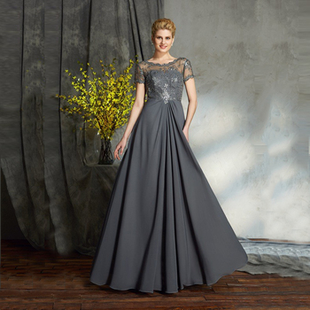 2021 Hot Sale Gray Floor Length Lace Beaded Mother of the Bride Dresses With Short Sleeves Jewel Wedding Party Gowns Backless