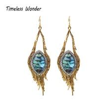 Timeless Wonder Stunning Oval Stone Geo Dangle Drop Earrings Statement Jewelry Punk Runway Gothic Boho Trendy Ins Rare 6235