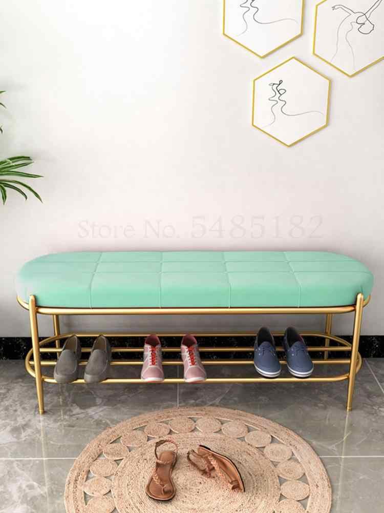 変更スツールドアホーム家庭用ソファ着席靴キャビネット靴スツールドア収納靴ラック鉄ベンチ
