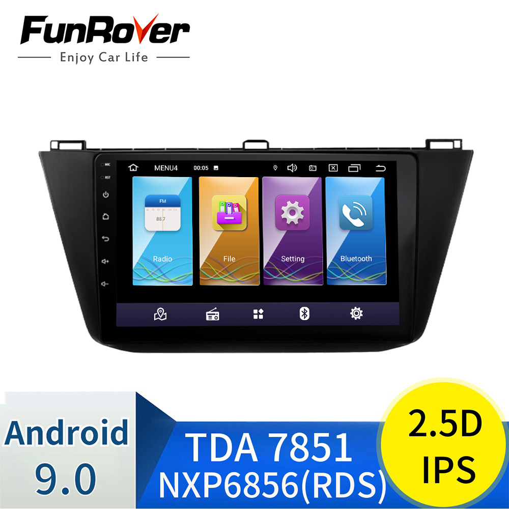 Funrover IPS+2.5D Android 8.0 car dvd for Volkswagen Tiguan 2016 2017 2018 radio multimedia gps navigation Bluetooth wifi EQ RDS image