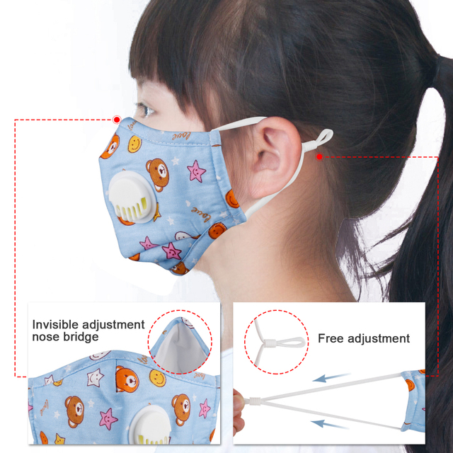 Kids Mouth Face Mask Antibacterial Breathable Valved Dust Mask Respirator Washable Reusable High Qualit 4