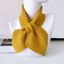 Elegant Small Bow Fishtail Scarves For Women Lady Girl Vintage Sweet Knit Warm S