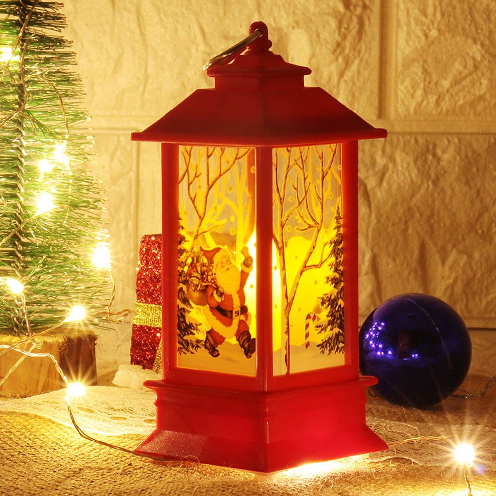 Christmas Vintage Santa Claus Snowman Castle Light Lamp Party Hanging Decor LED Lantern Party Supplies Hanging Lantern