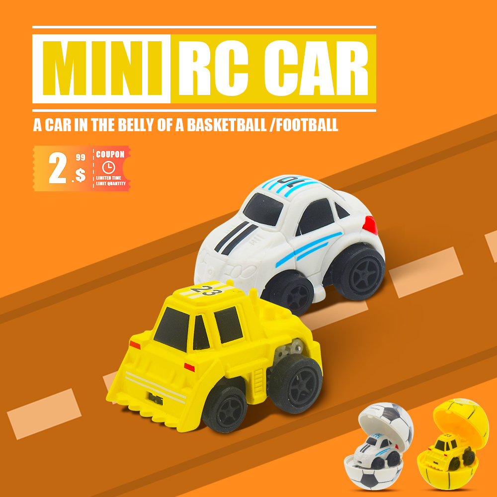 Mini RC Car Remote Control Micro Racing  In Ball Shape Box Funny Sports  Toy For Kids Color Random 3.5*2.5*2cm