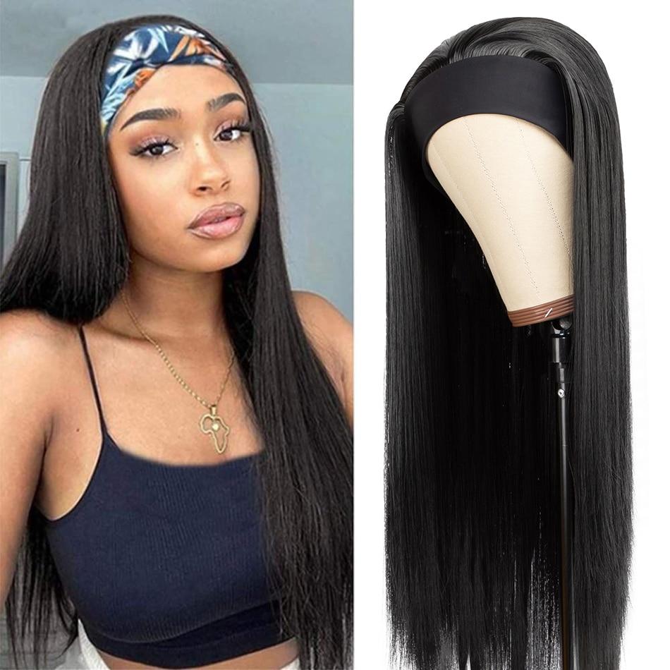 Прямой парик с головной повязкой синтетические парики из натуральных волос для Для женщин бесклеевой парик черный, красный Bonde повязка на г...