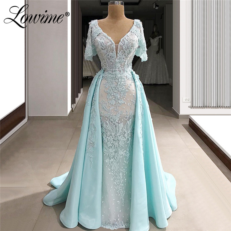 Lace Formal   Evening     Dress   Light Blue Mermaid Party Gowns 2019 Capped Sleeves Arabic Dubai Prom   Dresses   Abendkleider Custom Made