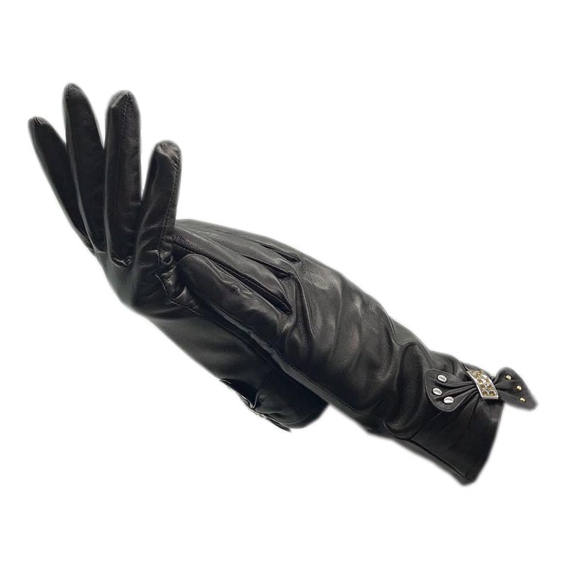 Autumn and winter ladies fashion wrist sheepskin gloves new black leather banquet clothes motorcycle warmth free shipping and co