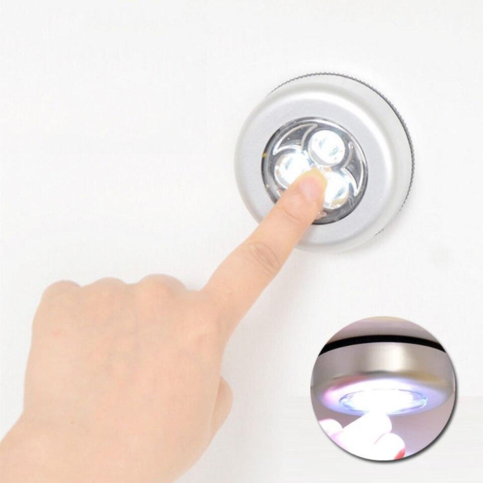 Сенсорная светодиодная подсветка под шкаф 3 светодиода Светодиодные шайбы светильники шкаф витрина ящик шкаф лампа на батарейках ночник|Фонари|   | АлиЭкспресс