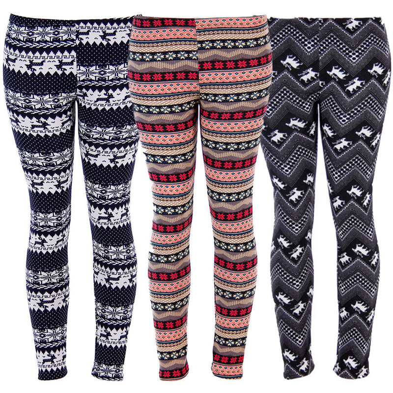 Fashion Women/'s Deer Snowflakes Winter Warm Knitted Leggings Thick Skinny Pants