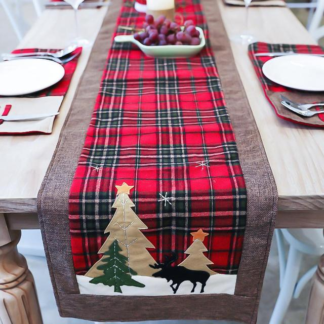 Burlap & Cotton Christmas Table Runner Red Black Plaid Tablecloth Home Party Dining Table Coffee Table Decoration Tablecloth 4