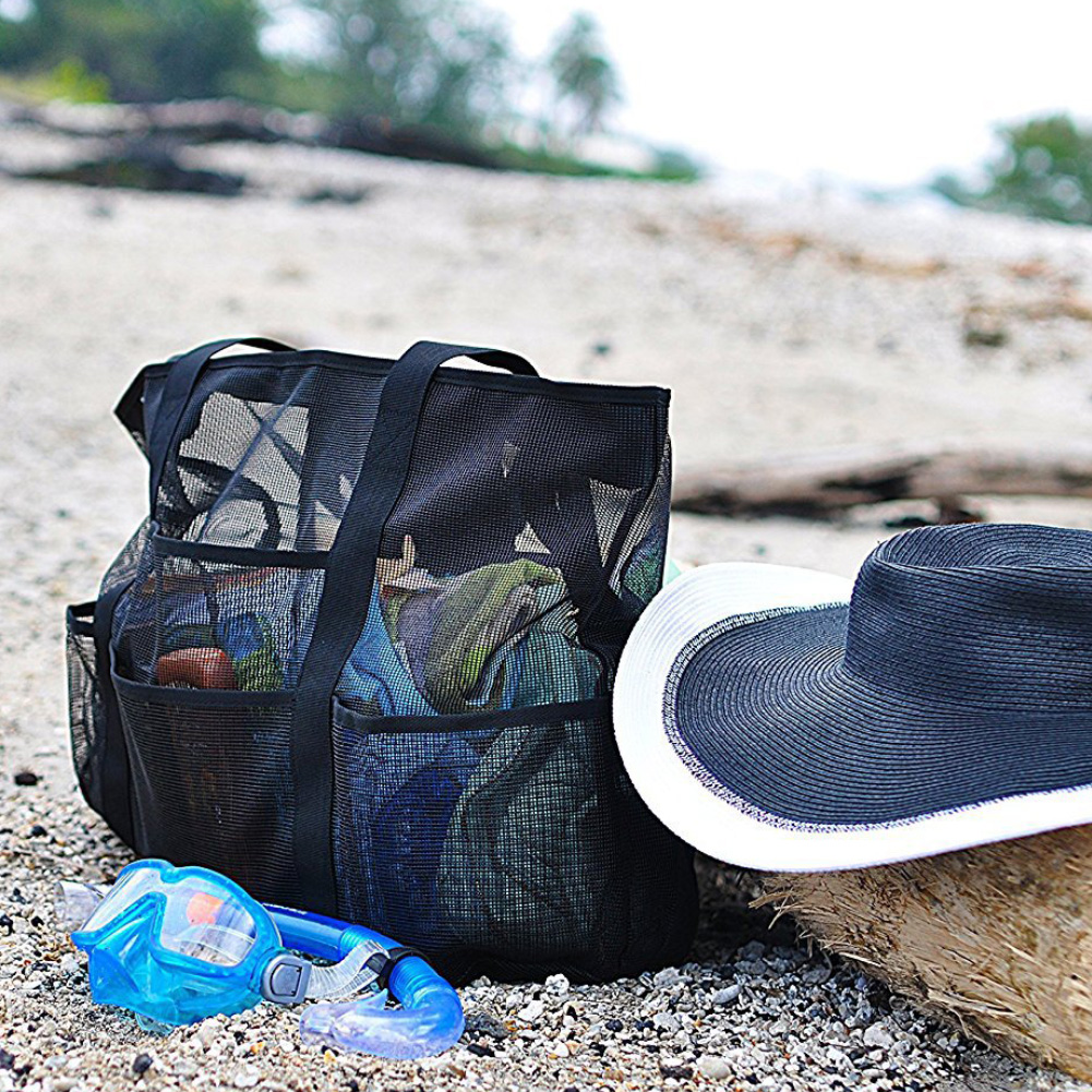Grand sac de plage en maille noir detail