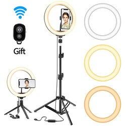 Светодиодный светильник для селфи с регулируемой яркостью, с штативом, USB, светильник для селфи, кольцевая лампа, большой светильник для фот...