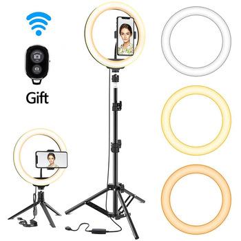 Możliwość przyciemniania LED Selfie lampa pierścieniowa ze statywem USB lampa leddo smartfona lampa pierścieniowa duża fotografia Ringlight ze stojakiem na Tiktok Youtube tanie i dobre opinie GIAUSA CN (pochodzenie) 3300-5600 k AK085 ABS plastic pp plastic carbon steel aluminu