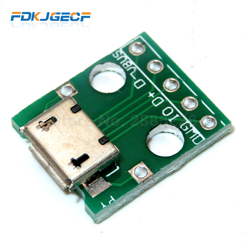 20pcs 5-pin Female micro usb to DIP Adapter 2.54mm Pinboard PCB Connect*s4
