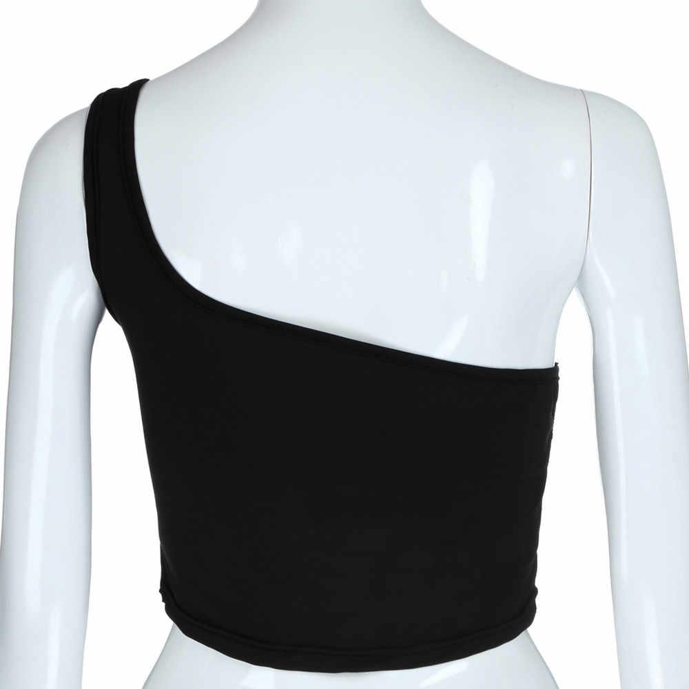 Top de colheita feminina sexy legal único ombro tanque topos colete moda blusa camisola de algodão sem mangas camiseta ropa mujer tanque para