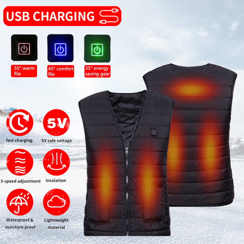 Outdoor USB Infrared Heating Vest Jacket Warm Winter Flexible Electric Thermal Waistcoat Hiking Camping Cycling Men/women