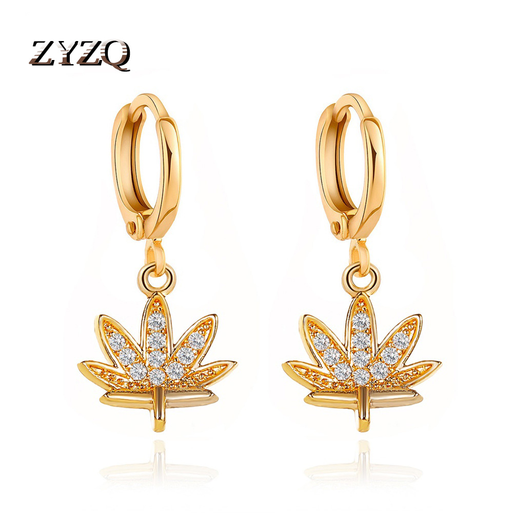 ZYZQ New Earrings Exquisite Crystal Tree Leaf Earrings For Women Short Maple Leaf Earrings Jewelry Accessories