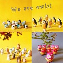 Venda 10 10 pces/corujas/miniaturas animais/adorável bonito/jardim de fadas gnome/musgo terrário decoração/artesanato/bonsai/estatueta/suprimentos diy