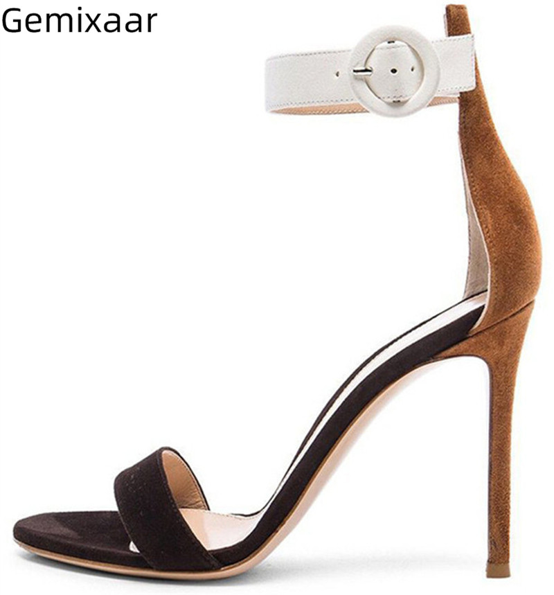 Women Sandals Mix Colors Super High Gladiator Heel Narrow Buckle Sandalias One Strap Cover Heel Comfy Insole Women Sandals Mujer