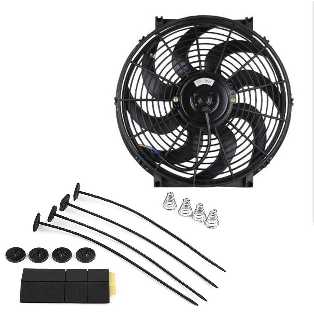 Car Auto Universal Electric Cooling Radiator Mounting Modified Fan Replacement Slim Pull Push Racing Electric Radiator