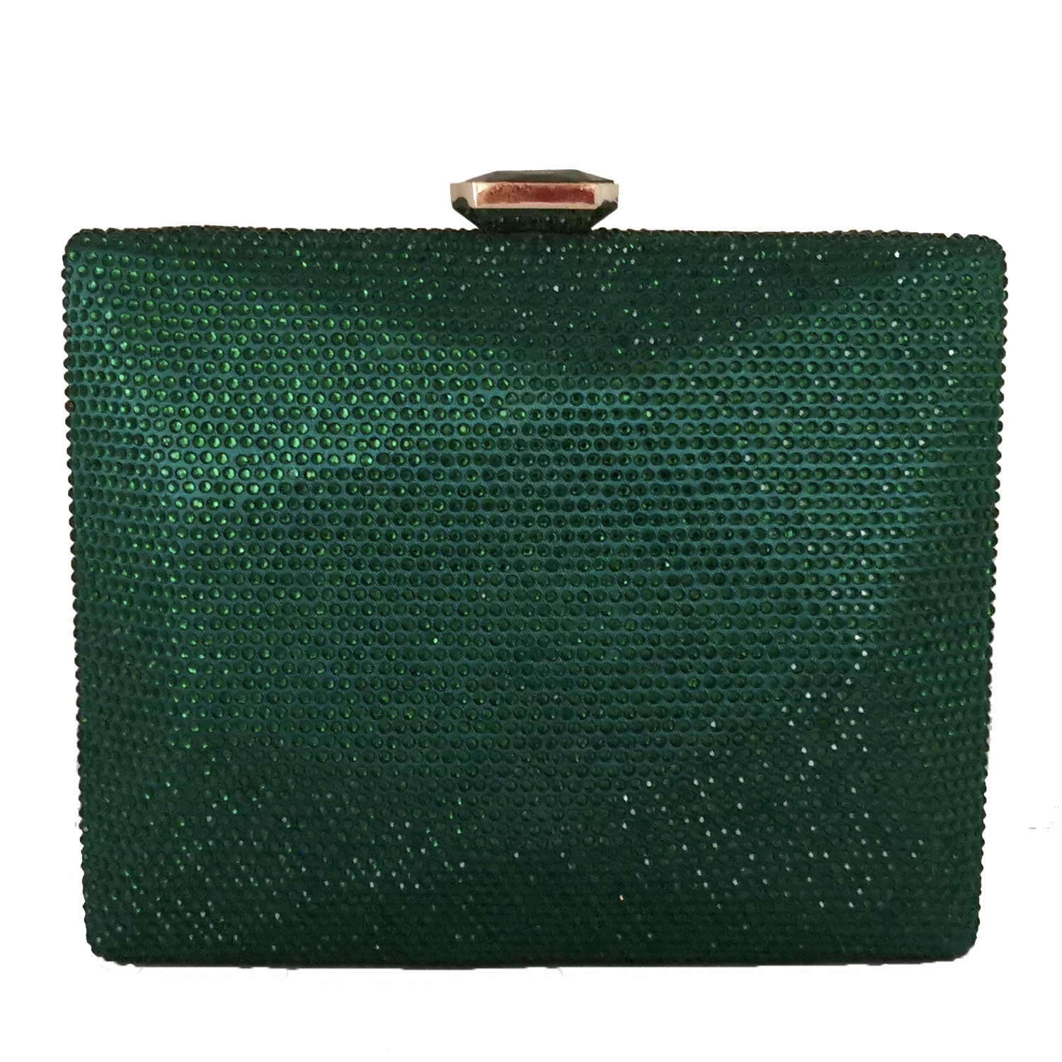 Boutique De FGG Elegant Green Crystal Women Box Clutch Evening Handbags Party Cocktail Rhinestones Purses Wedding Bag