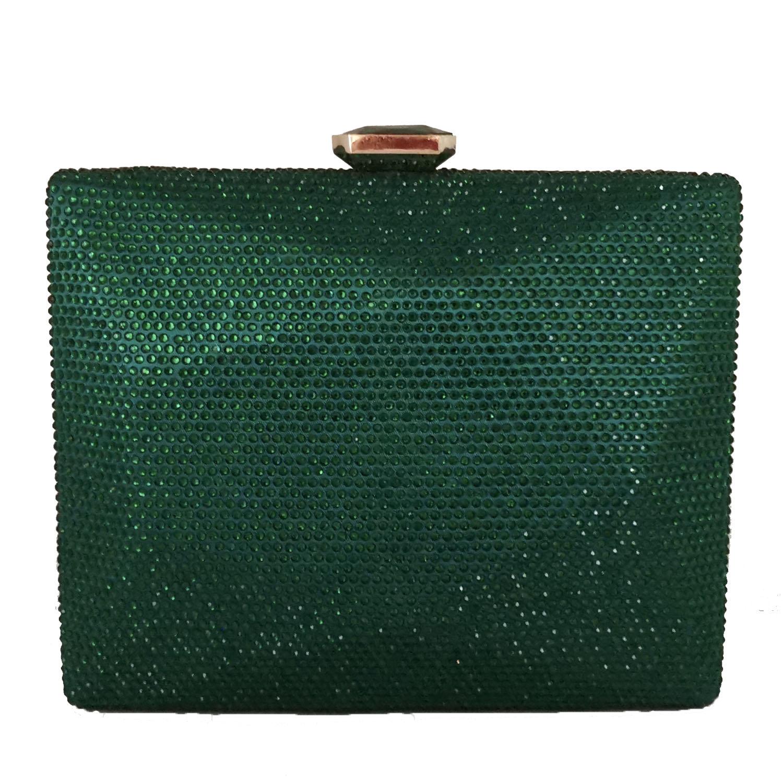 Boutique De FGG Elegant Green Crystal Women Box Clutch Evening Handbags Party Cocktail Rhinestones Purses Wedding Bag