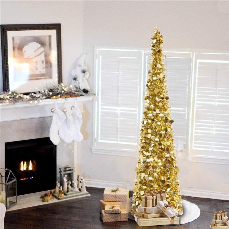 Árvore de Natal Decorações de Natal para Casa Dobrável Artificial Magro Pop up Lantejoulas Enfeites Ouro 1.5 m