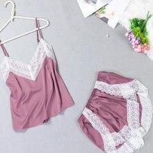 summer Lace sling sexy pajamas lace stitching vest shorts 2 piece set satin pyjama women lingerie pijama mujer pink plus size