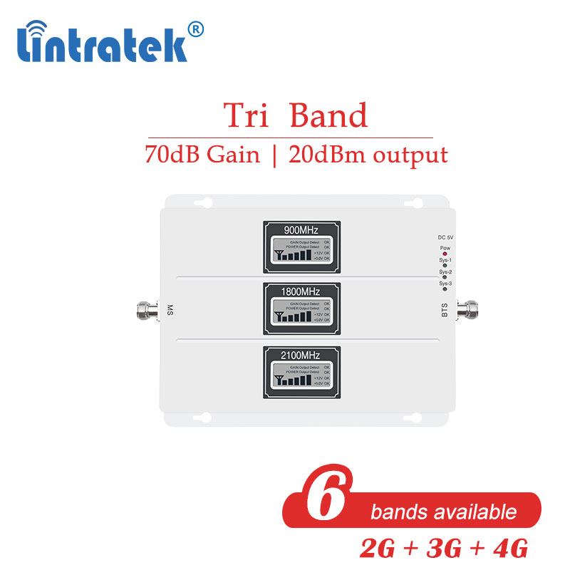 Lintratek Powerful 70db Tri Band Signal Repeater 2g 3g 4g 800 850 900 1800 2100 EGSM 4G Cell Phone Celluar Booster Amplifier  S7