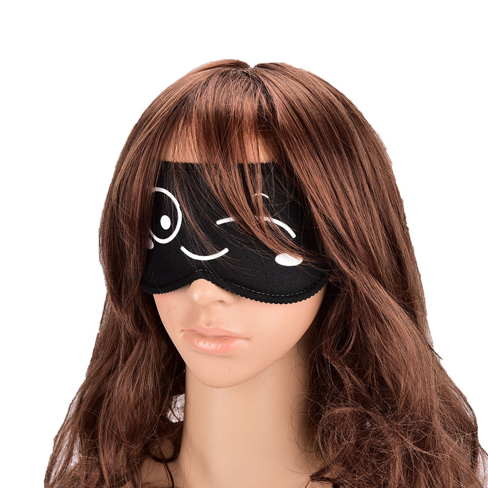 Travel Normal Eyeshade Black Cartoon Print Women Men Kids Eyeshade Sleep Eye Cover Eye Blinder Sleeping Eye Mask