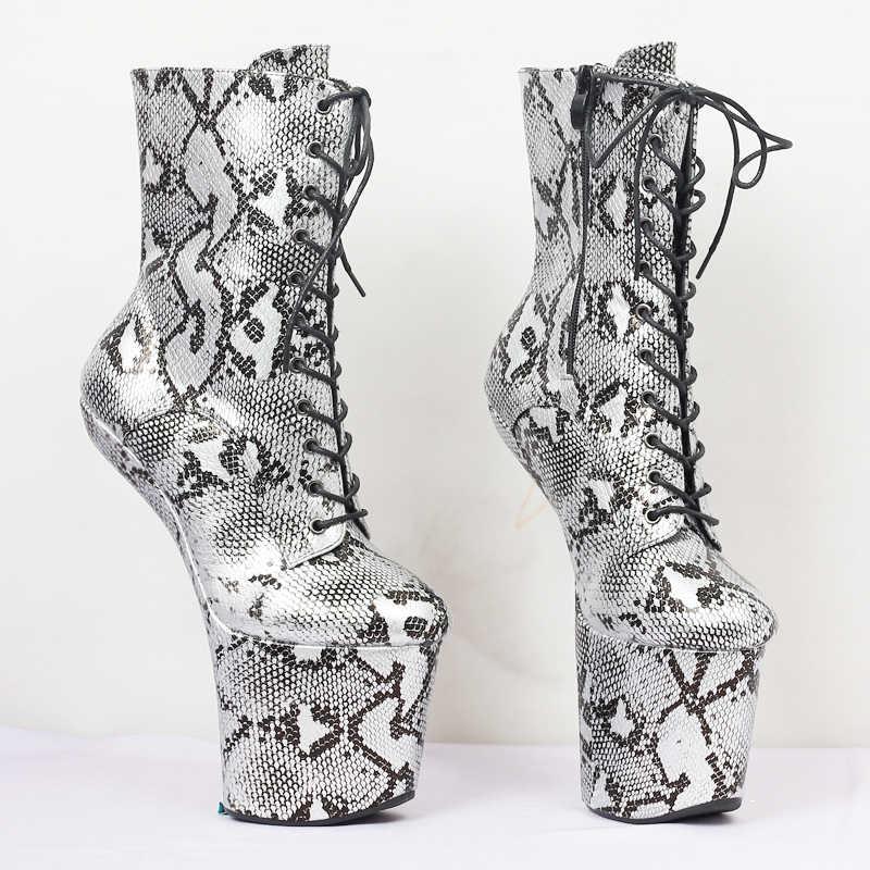 Jialuowei unisex padrão de pele cobra rendas até botas de tornozelo plataforma stripper sexy dança exótica saltos altos