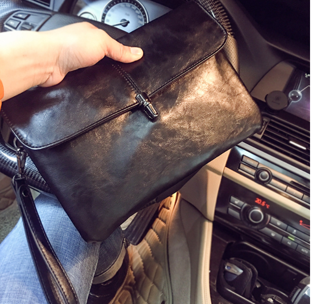 Trendy Simple Men Envelope Briefcase Soft Leather Small Mens Office Bag Easy-to-carry Light Clutch Bags Bolso Hombre DF280