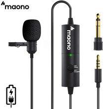 MAONO AU-100R yaka yaka mikrofonu şarj edilebilir çok yönlü kondenser clip-mic için LED göstergesi ile kayıt Vlog