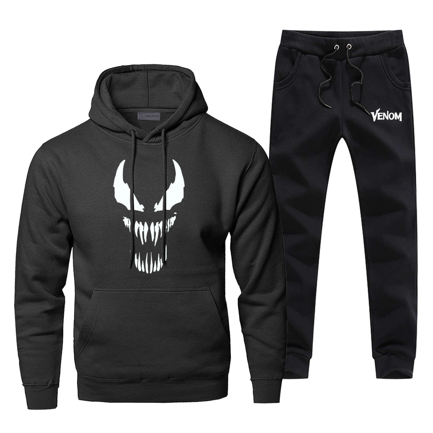 Fashion Men Marvel Movie Venom Print Hoodies Pants 2pcs Sets Men Fleece Sportswear Sweatpants Sweatshirt Hip Hop Streetwear