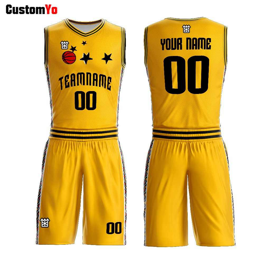 Fashion Design Custom Yellow Red Green White Basketball Shirts Sublimation Reversible Basketball Uniform