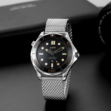 2021 New Arrival 007 No Time To Die Design Diving Watch Men Luminous Milanese Steel Strap Automatic Watch Men Waterproof