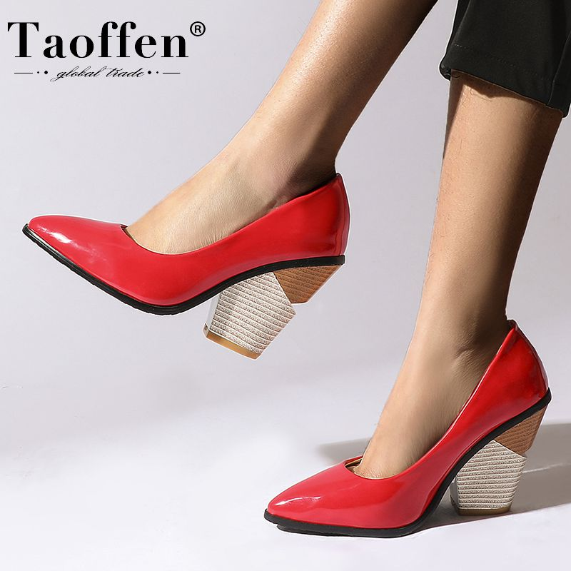 Taoffen 10 Color Plus Size 34-48 Women Pumps Sexy Party High Quality Office Shoes Woman Dancing Party Female Pumps Footwear
