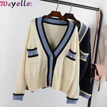 Wool Knitted Cardigan Women 2019 Autumn Winter Hit Color V-neck Single Breasted Knitted Sweater Coat Women Casual Chic Cardigan
