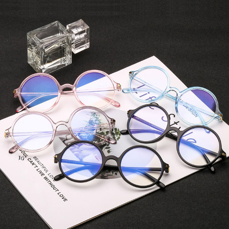 2020 Women Glasses Frame Men Anti Blue Light Eyeglasses Frame Vintage Round Clear Lens Glasses Optical Spectacle Frame