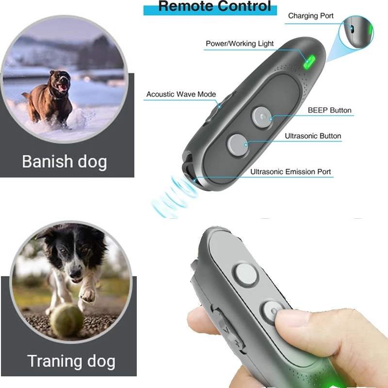 Pet Dog 3 in 1 Anti Barking Device Ultrasonic Handheld Dog Repellent and Training Repeller Control Tools Rechargeable with LED