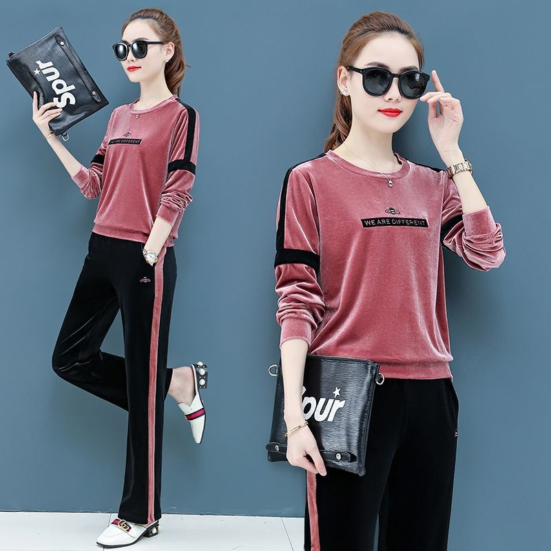 Velvet Suits Wide Leg Pant And Tops Casual Velour Pink Tracksuits 2 Pieces Set Striped Outfits Matching Sets 2019 Winter Clothes in Women 39 s Sets from Women 39 s Clothing