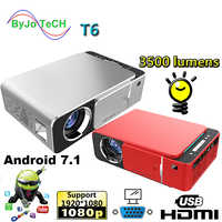 2019 New T6 1080P LED Projector 3500 lumens 1280x720 Portable projector Android 7.1 USB HDMI VGA AV Home Theater WIFI 2.4G5G
