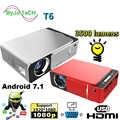 2019 Nuovo T6 1080P HA CONDOTTO il Proiettore 3500 lumen 1280x720 proiettore Portatile Android 7.1 USB HDMI VGA AV home Theater WIFI 2.4G5G
